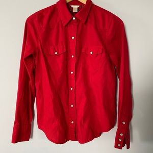 100% Cotton Small Red Button Down Shirt